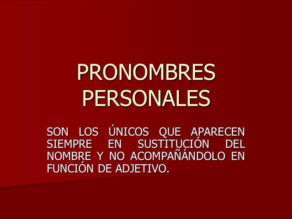 SEGÚN LA PERSONA GRAMATICAL A LA QUE SE REFIERAN PODEMOS ENCONTRAR EN LATÍN LOS SIGUIENTES PRONOMBRES PERSONALES: PRONOMBRE PERSONAL DE PRIMERA PERSONA EN SINGULARPRONOMBRE PERSONAL DE PRIMERA PERSONA EN SINGULAR PRONOMBRE PERSONAL DE PRIMERA PERSONA EN PLURALPRONOMBRE PERSONAL DE PRIMERA PERSONA EN PLURAL PRONOMBRE PERSONAL DE SEGUNDA PERSONA EN SINGULARPRONOMBRE PERSONAL DE SEGUNDA PERSONA EN SINGULAR PRONOMBRE PERSONAL DE SEGUNDA PERSONA EN PLURALPRONOMBRE PERSONAL DE SEGUNDA PERSONA EN PLURAL EN LATÍN, NO EXISTE EL PRONOMBRE PERSONAL DE TERCERA PERSONA, PARA REALIZAR ESTA FUNCIÓN SE UTILIZA ILLE ILLA ILLUD PUESTO QUE LAS FORMAS DEL PRONOMBRE SE QUE CORRESPONDERÍAN A ESTA PERSONA, EN LATÍN, FUNCIONAN COMO REFLEXIVAS.