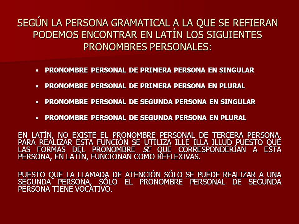 PRIMERA PERSONA SEGUNDA PERSONA SINGULARPLURALSINGULARPLURAL NOMINATIVOEGONOSTUVOS VOCATIVO------------------------------TUVOS ACUSATIVOMENOSTEVOS GENITIVOMEINOSTRUMTUIVESTRUM DATIVOMIHINOBISTIBIVOBIS ABLATIVOMENOBISTEVOBIS