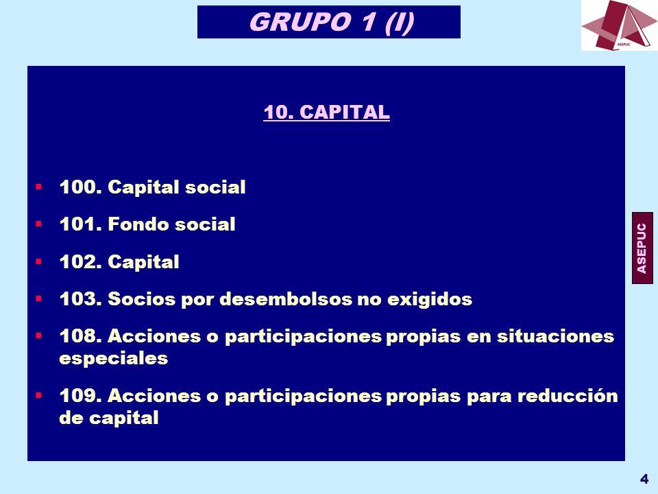 ASEPUC 5 GRUPO 1 (II) 10.CAPITAL 100. Capital social 101.