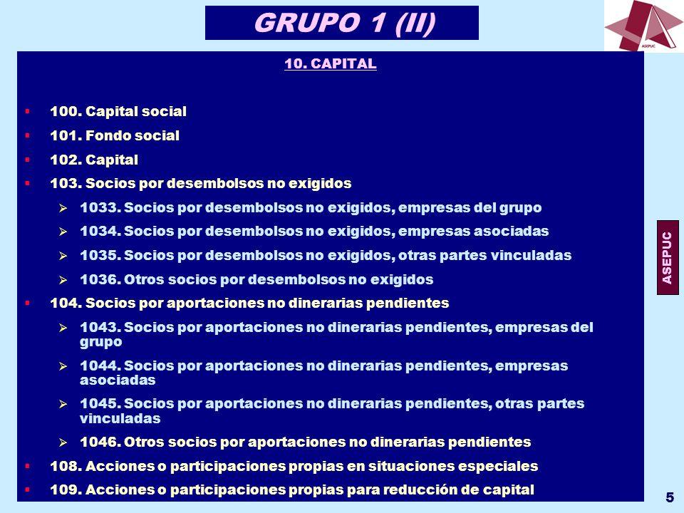 ASEPUC 6 GRUPO 1 (II) 11.RESERVAS 110. Prima de emisión o asunción 111.
