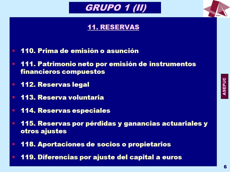 ASEPUC 7 GRUPO 1 (IV) 11.RESERVAS 110. Prima de emisión o asunción 111.