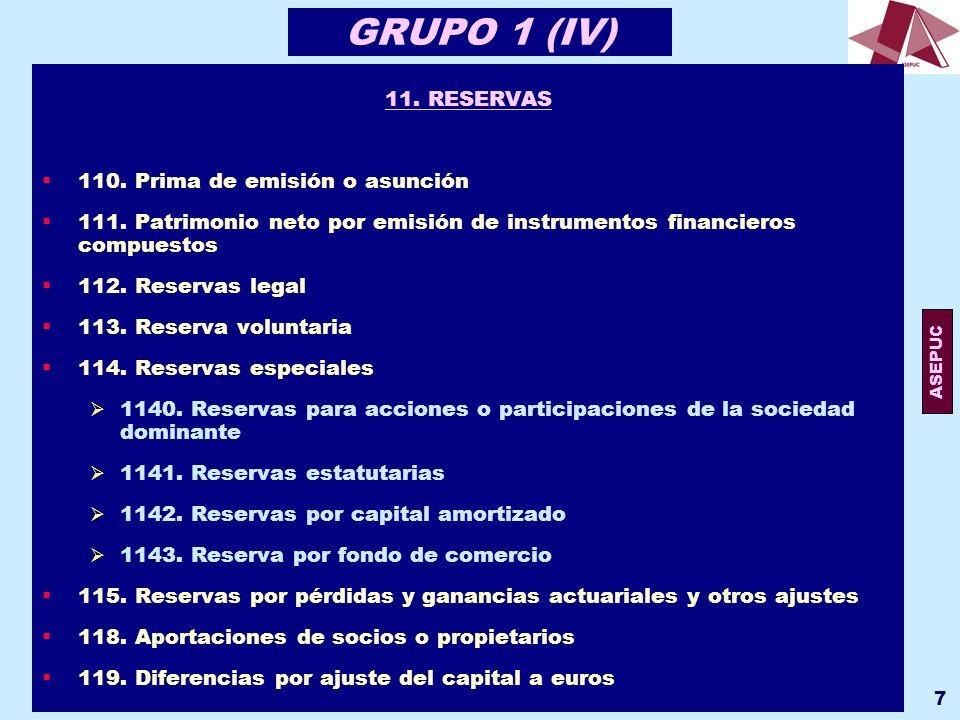 ASEPUC 118 GRUPO 7 (VI) 75.OTROS INGRESOS DE GESTIÓN 751.