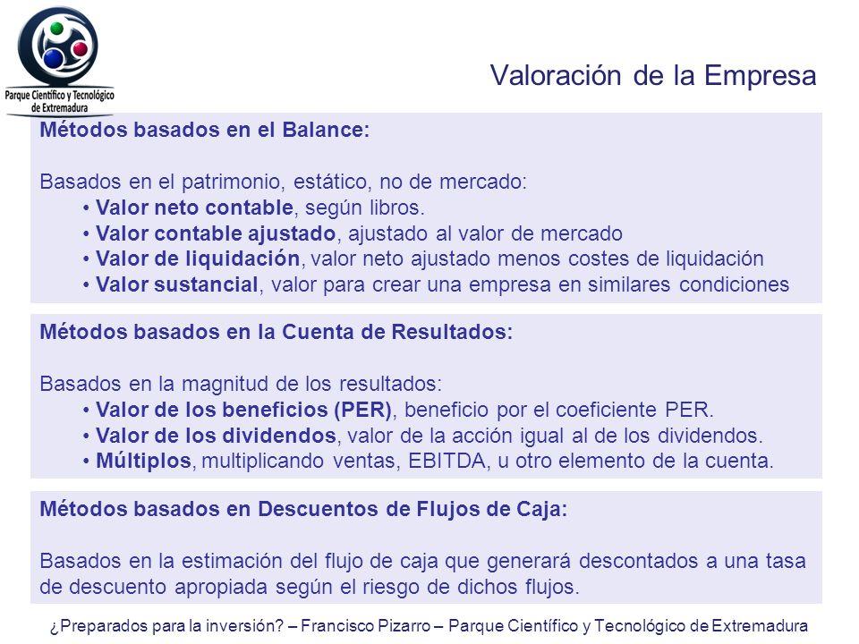 Valoración de la Empresa Métodos basados en el Balance: Basados en el patrimonio, estático, no de mercado: Valor neto contable, según libros. Valor co