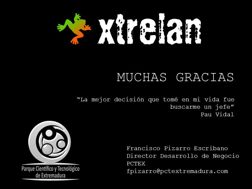 MUCHAS GRACIAS La mejor decisión que tomé en mi vida fue buscarme un jefe Pau Vidal Francisco Pizarro Escribano Director Desarrollo de Negocio PCTEX f