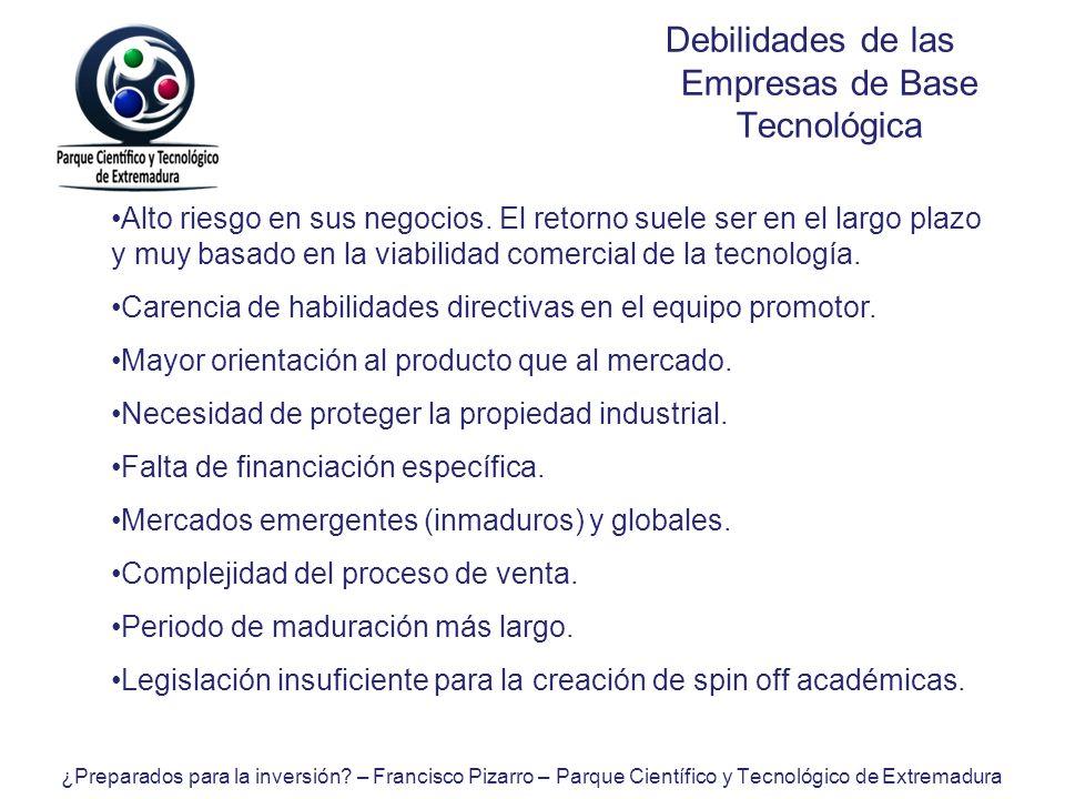 Debilidades de las Empresas de Base Tecnológica Alto riesgo en sus negocios. El retorno suele ser en el largo plazo y muy basado en la viabilidad come