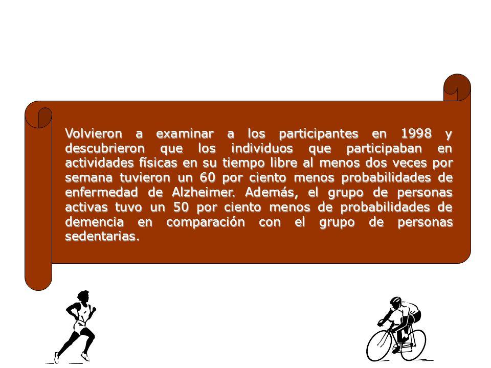Volvieron a examinar a los participantes en 1998 y descubrieron que los individuos que participaban en actividades físicas en su tiempo libre al menos