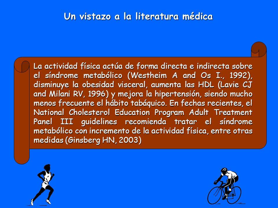 La actividad física actúa de forma directa e indirecta sobre el síndrome metabólico (Westheim A and Os I., 1992), disminuye la obesidad visceral, aume