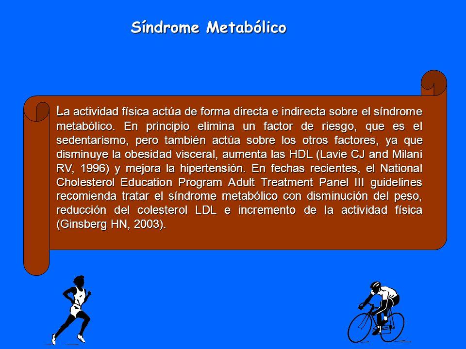 L a actividad física actúa de forma directa e indirecta sobre el síndrome metabólico. En principio elimina un factor de riesgo, que es el sedentarismo