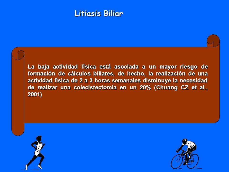 La baja actividad física está asociada a un mayor riesgo de formación de cálculos biliares, de hecho, la realización de una actividad física de 2 a 3