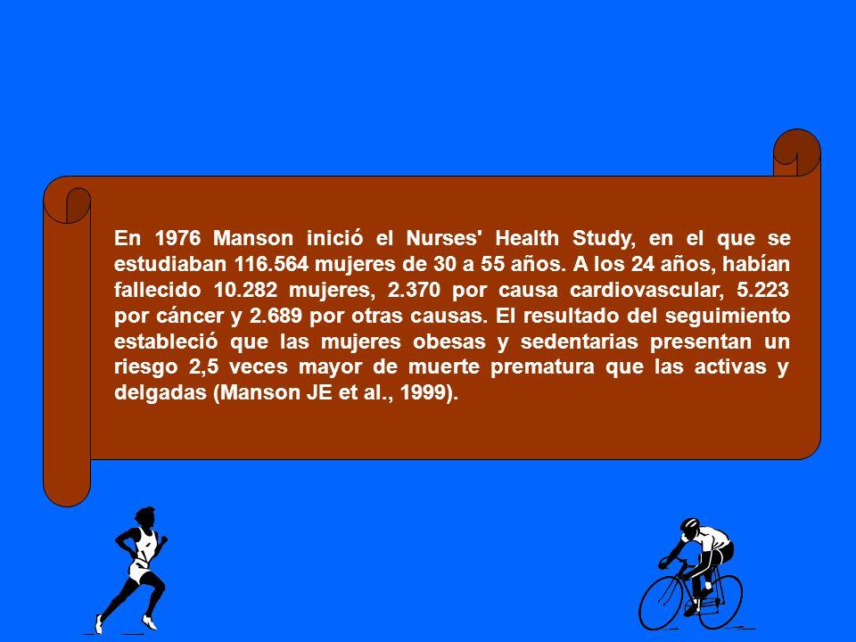 En 1976 Manson inició el Nurses' Health Study, en el que se estudiaban 116.564 mujeres de 30 a 55 años. A los 24 años, habían fallecido 10.282 mujeres