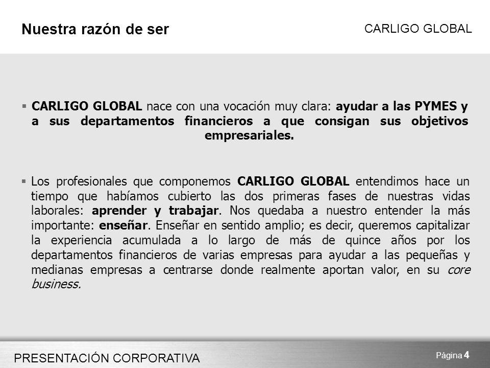 PRESENTACIÓN CORPORATIVA CARLIGO GLOBAL Página 15 Casos de éxito Control de Gestión ASESORAMIENTO EN LA IMPLANTACIÓN DE UN SISTEMA DE CONTROL DE GESTIÓN Y REPORTING Situación inicial: Empresa del sector servicios con una facturación de 3 M encarga a Carligo la organización de su Departamento de Administración y Finanzas Trabajo realizado: CARLIGO realiza un estudio de los procesos de control interno (contabilidad, facturación, cobros, tesorería) asesorando en la distribución de tareas dentro del departamento y la homogeneización de las mismas.