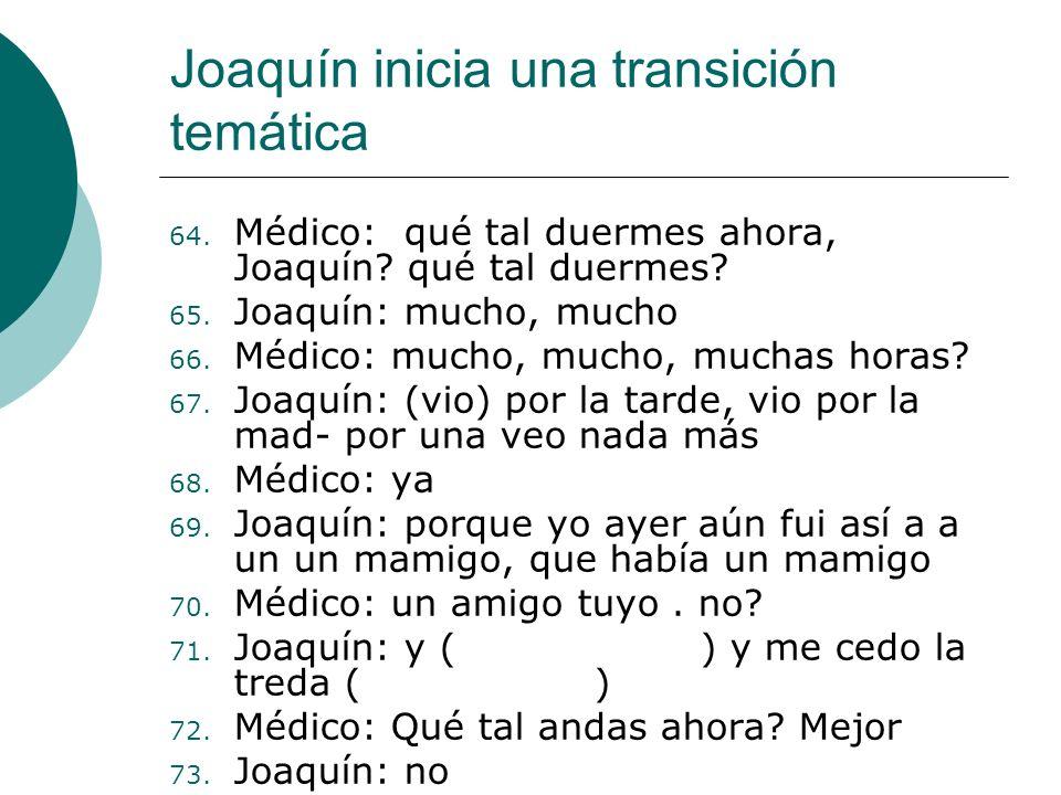 Organización temática de la interacción entre Joaquín y su médico 1. Nombre del paciente (2 turnos) 2. Fecha de hoy (10 turnos) 3. Edad del paciente (