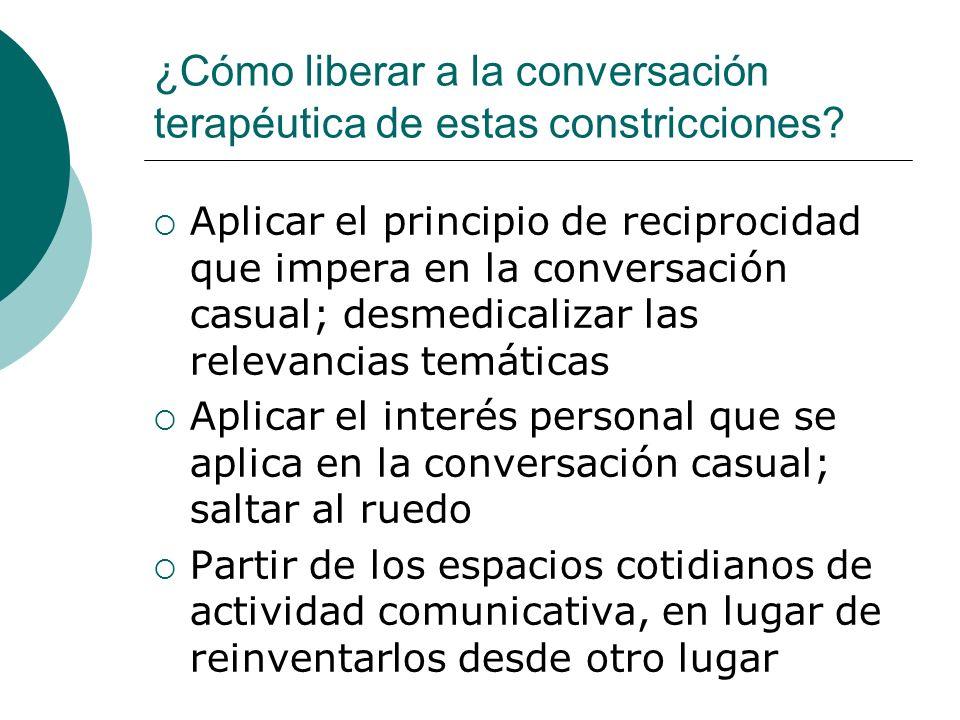¿Por qué liberar la conversación de estas constricciones institucionales? Los contenidos de la conversación generan y mantienen su propia relevancia p