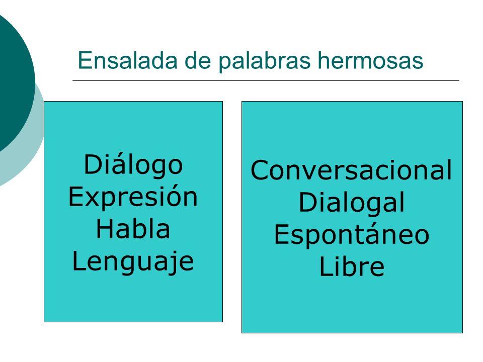 Ensalada de palabras hermosas Diálogo Expresión Habla Lenguaje Conversacional Dialogal Espontáneo Libre