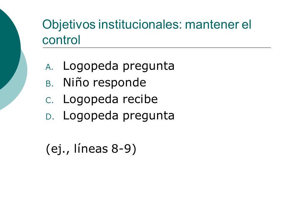 Objetivos institucionales: mantener el control A.Logopeda pregunta B.