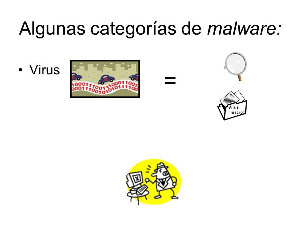 Algunas categorías de malware: Virus = Virus macro