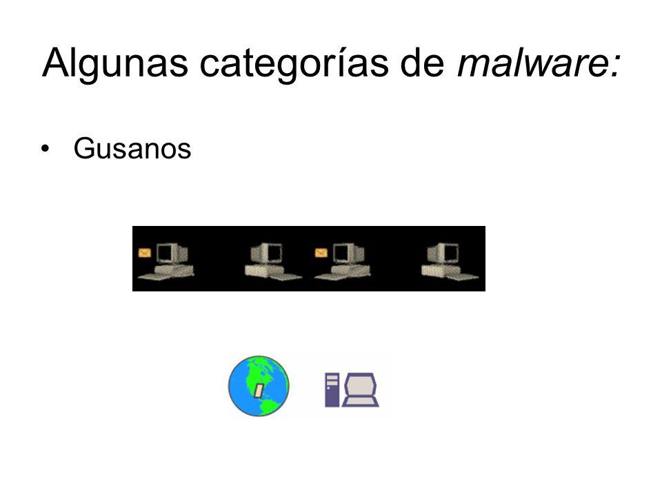 Algunas categorías de malware: Gusanos