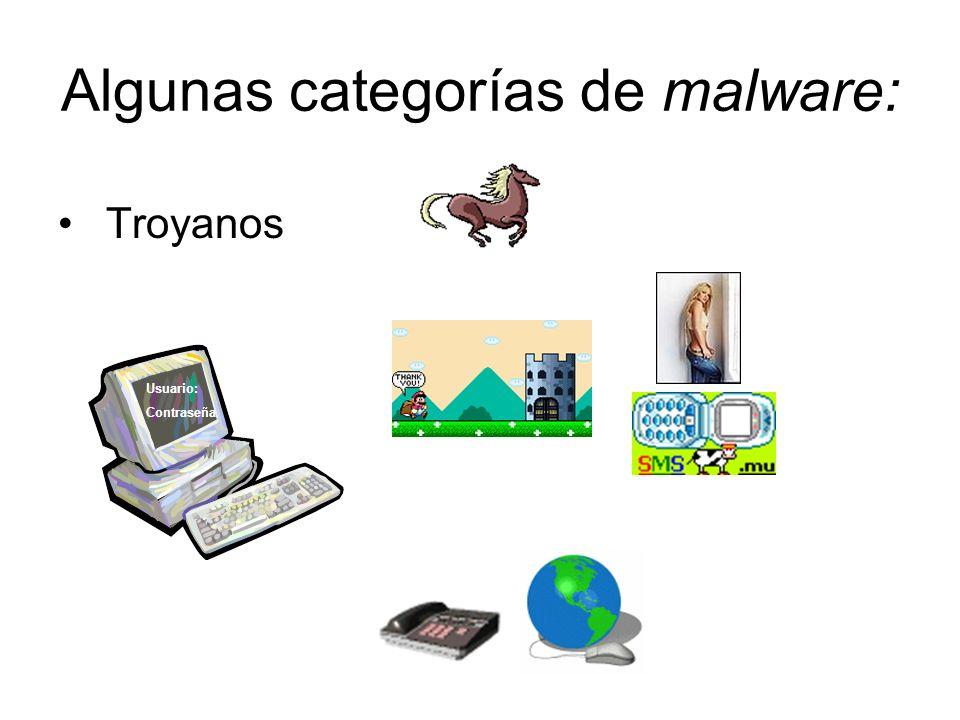 Algunas categorías de malware: Usuario: Contraseña Troyanos