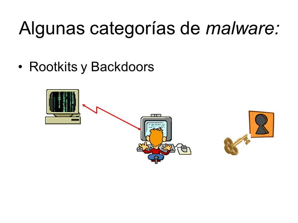 Algunas categorías de malware: Rootkits y Backdoors