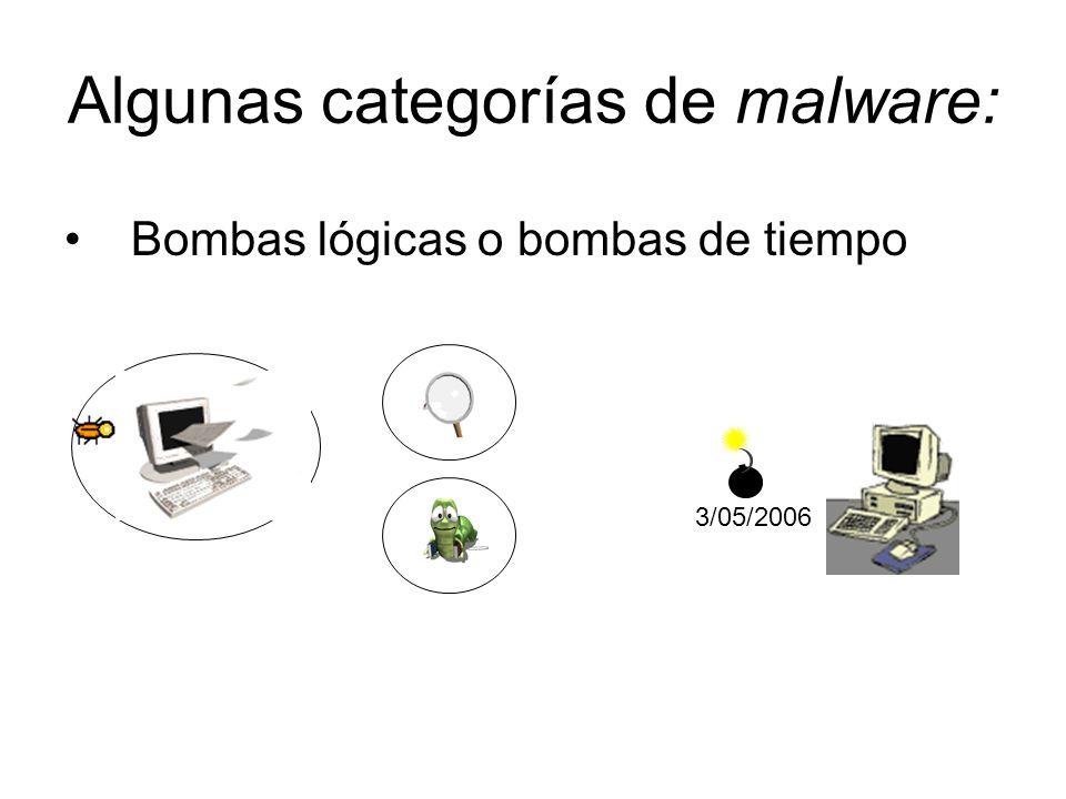 Algunas categorías de malware: Bombas lógicas o bombas de tiempo 3/05/2006