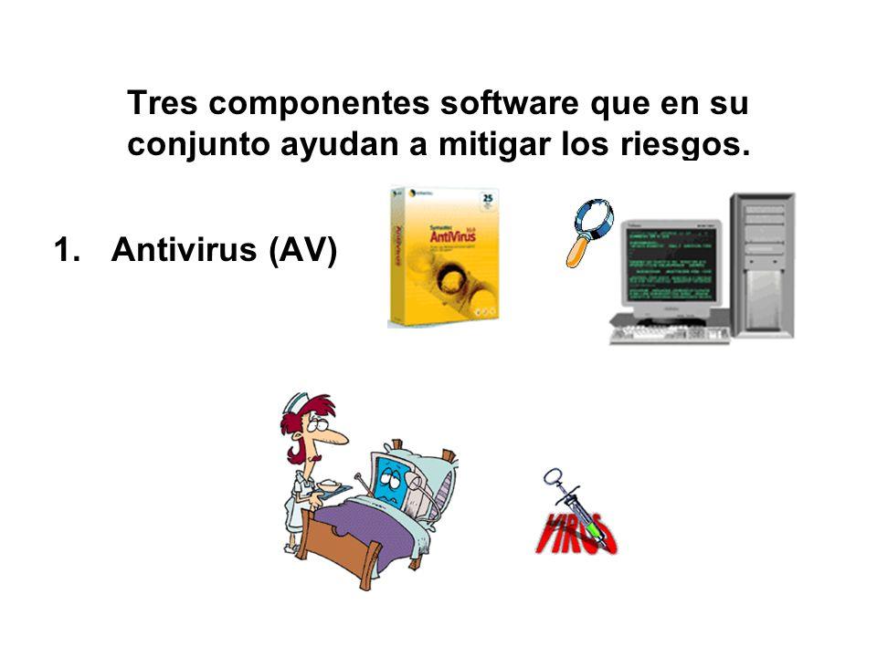Tres componentes software que en su conjunto ayudan a mitigar los riesgos. 1.Antivirus (AV)