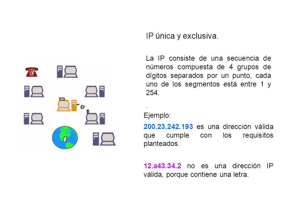 IP única y exclusiva. La IP consiste de una secuencia de números compuesta de 4 grupos de dígitos separados por un punto, cada uno de los segmentos es