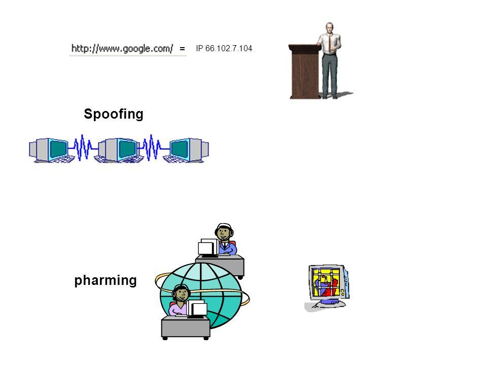 Spoofing IP 66.102.7.104 = pharming