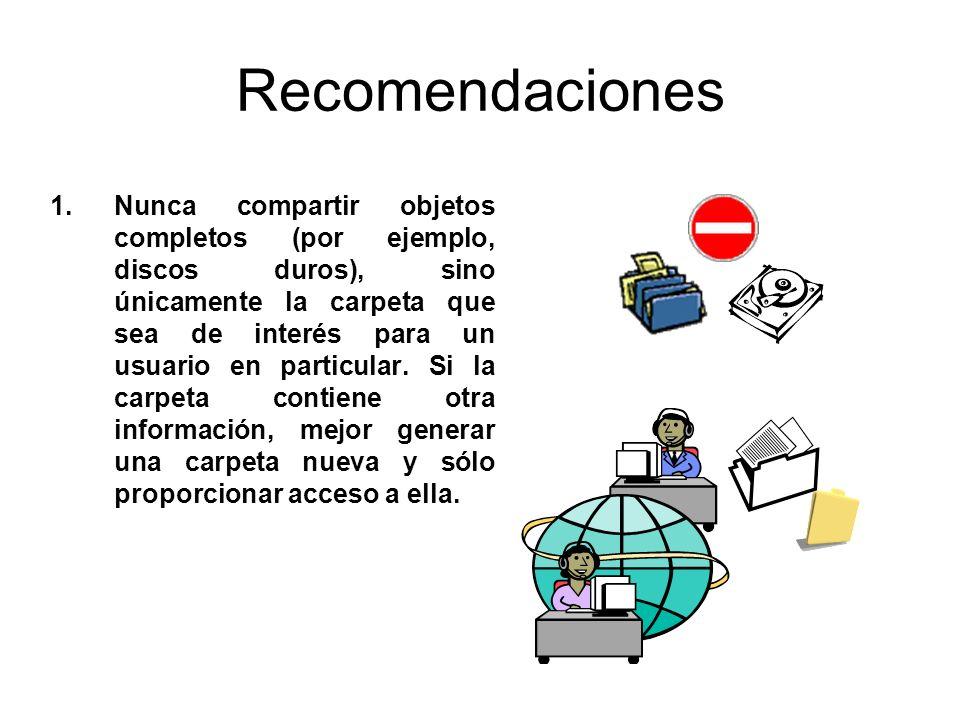 Recomendaciones 1.Nunca compartir objetos completos (por ejemplo, discos duros), sino únicamente la carpeta que sea de interés para un usuario en part