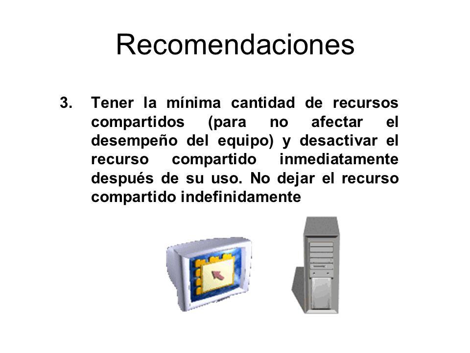 Recomendaciones 3.Tener la mínima cantidad de recursos compartidos (para no afectar el desempeño del equipo) y desactivar el recurso compartido inmedi