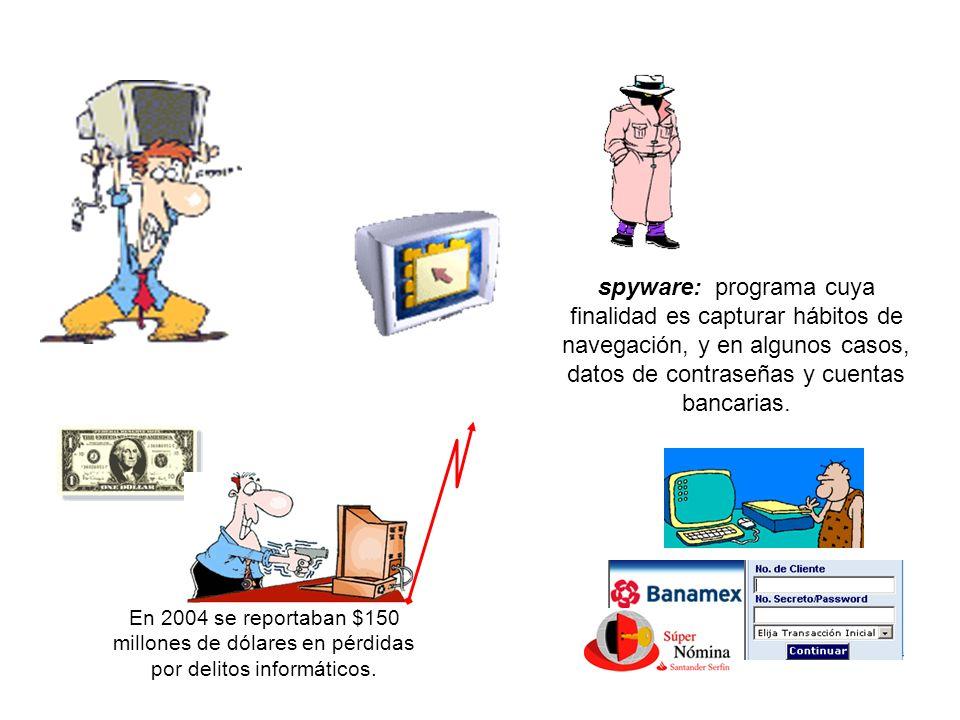 spyware: programa cuya finalidad es capturar hábitos de navegación, y en algunos casos, datos de contraseñas y cuentas bancarias. En 2004 se reportaba