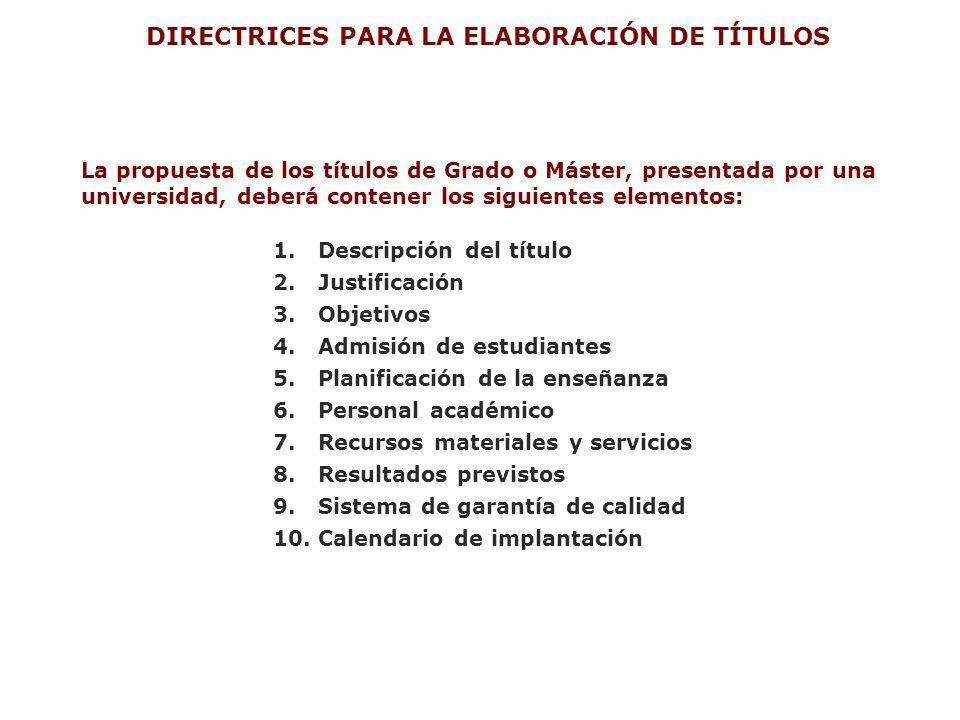 La propuesta de los títulos de Grado o Máster, presentada por una universidad, deberá contener los siguientes elementos: 1. Descripción del título 2.