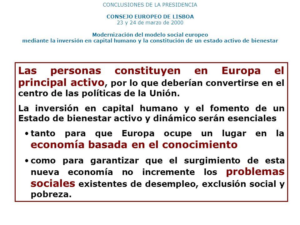 CONCLUSIONES DE LA PRESIDENCIA CONSEJO EUROPEO DE LISBOA 23 y 24 de marzo de 2000 Modernización del modelo social europeo mediante la inversión en cap