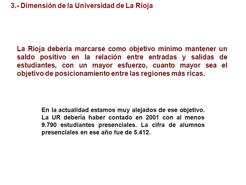 3.- Dimensión de la Universidad de La Rioja La Rioja debería marcarse como objetivo mínimo mantener un saldo positivo en la relación entre entradas y