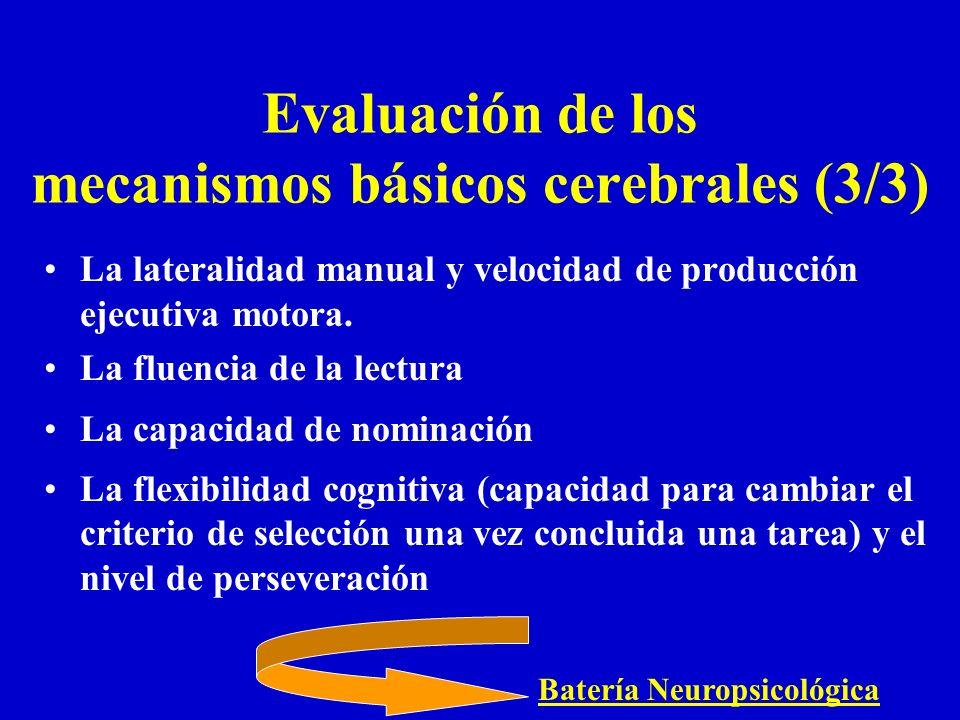 La lateralidad manual y velocidad de producción ejecutiva motora. La fluencia de la lectura La capacidad de nominación La flexibilidad cognitiva (capa