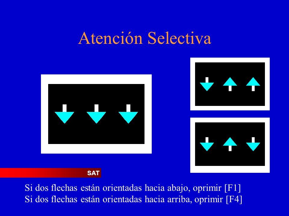 Atención Selectiva Si dos flechas están orientadas hacia abajo, oprimir [F1] Si dos flechas están orientadas hacia arriba, oprimir [F4] SAT