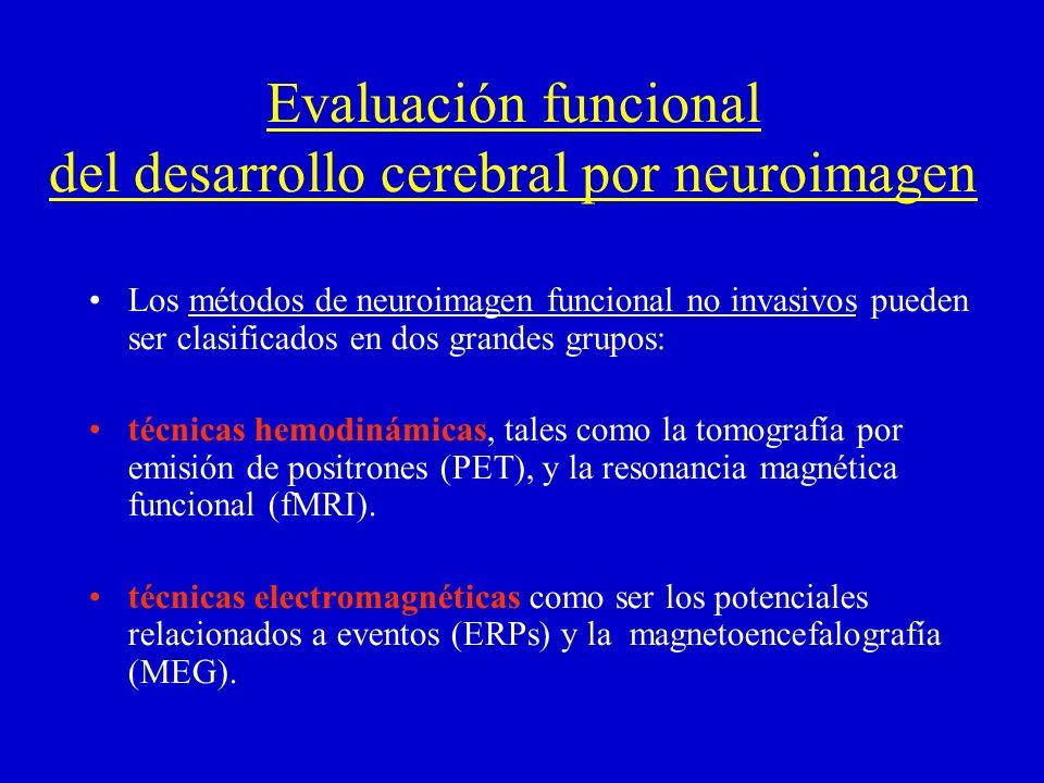 Evaluación funcional del desarrollo cerebral por neuroimagen Los métodos de neuroimagen funcional no invasivos pueden ser clasificados en dos grandes