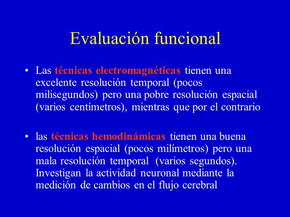 Evaluación funcional Las técnicas electromagnéticas tienen una excelente resolución temporal (pocos milisegundos) pero una pobre resolución espacial (