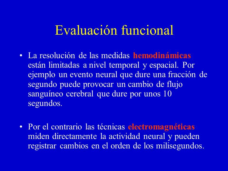 Evaluación funcional La resolución de las medidas hemodinámicas están limitadas a nivel temporal y espacial. Por ejemplo un evento neural que dure una