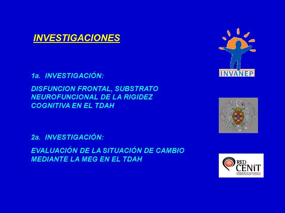 1a. INVESTIGACIÓN: DISFUNCION FRONTAL, SUBSTRATO NEUROFUNCIONAL DE LA RIGIDEZ COGNITIVA EN EL TDAH INVESTIGACIONES 2a. INVESTIGACIÓN: EVALUACIÓN DE LA
