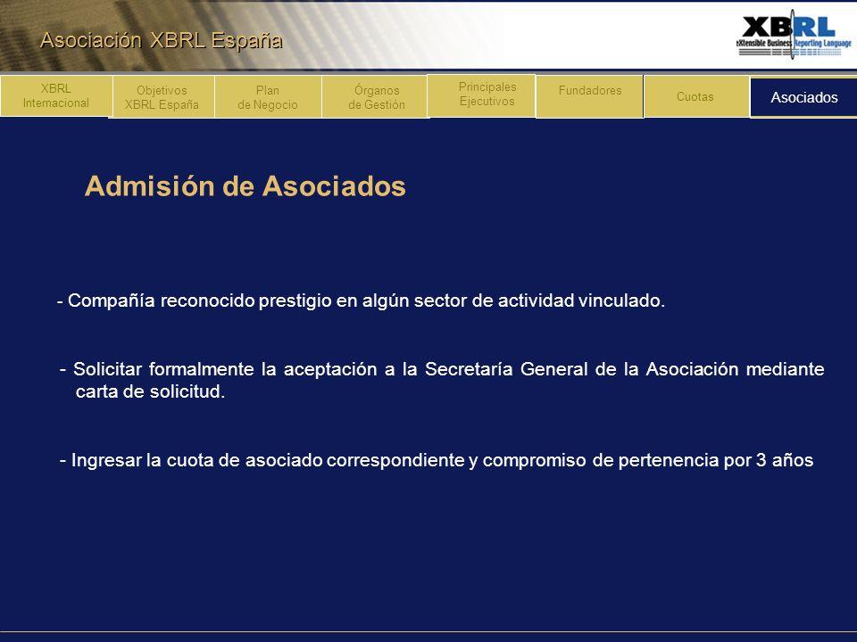 Asociación XBRL España Admisión de Asociados Plan de Negocio Órganos de Gestión Principales Ejecutivos Fundadores Cuotas Asociados XBRL Internacional
