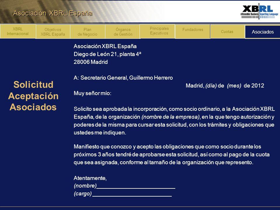 Asociación XBRL España Plan de Negocio Órganos de Gestión Principales Ejecutivos Fundadores Cuotas Asociados XBRL Internacional Objetivos XBRL España