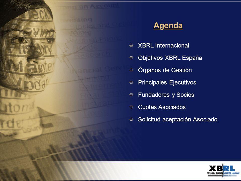 Agenda XBRL Internacional Objetivos XBRL España Órganos de Gestión Principales Ejecutivos Fundadores y Socios Cuotas Asociados Solicitud aceptación As