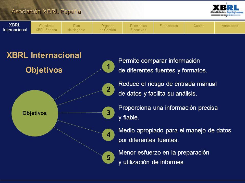 Asociación XBRL España Entidades financieras y administradores de información Servicios profesionales y de consultoría Proveedores de software y otra Tecnología Organizaciones gubernamentales y sin ánimo de lucro Contabilidad y organizaciones comerciales Formada por 170 asociaciones XBRL Internacional Descripción 546321 Plan de Negocio Órganos de Gestión Principales Ejecutivos FundadoresCuotasAsociados XBRL Internacional Objetivos XBRL España