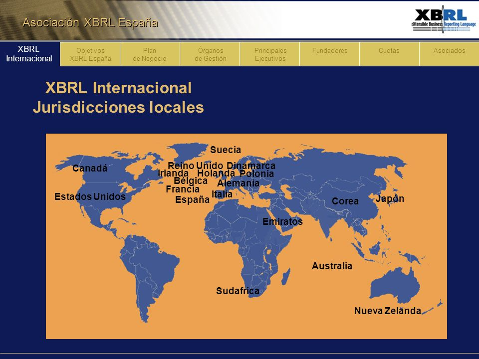 Asociación XBRL España Plan de Negocio Órganos de Gestión Principales Ejecutivos FundadoresCuotasAsociados XBRL Internacional XBRL España Objetivos 1 Implantación, adopción y desarrollo nacional & internacional del lenguaje XBRL en interés de unificación estándares aplicables a la presentación de información financiera & empresarial.