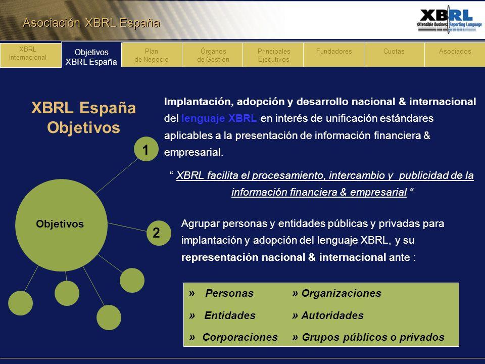 Asociación XBRL España Objetivos XBRL España Plan de Negocio Órganos de Gestión Principales Ejecutivos FundadoresCuotasAsociadosXBRL Internacional XBRL España Objetivos Velar imagen y prestigio de XBRL y defender intereses proceso implantación, adopción y desarrollo de XBRL en España.