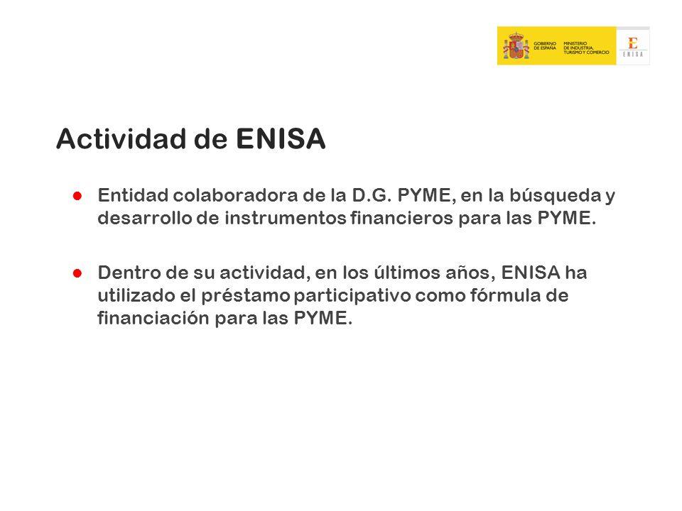 Actividad de ENISA Entidad colaboradora de la D.G. PYME, en la búsqueda y desarrollo de instrumentos financieros para las PYME. Dentro de su actividad