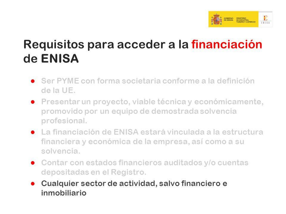 Requisitos para acceder a la financiación de ENISA Ser PYME con forma societaria conforme a la definición de la UE. Presentar un proyecto, viable técn