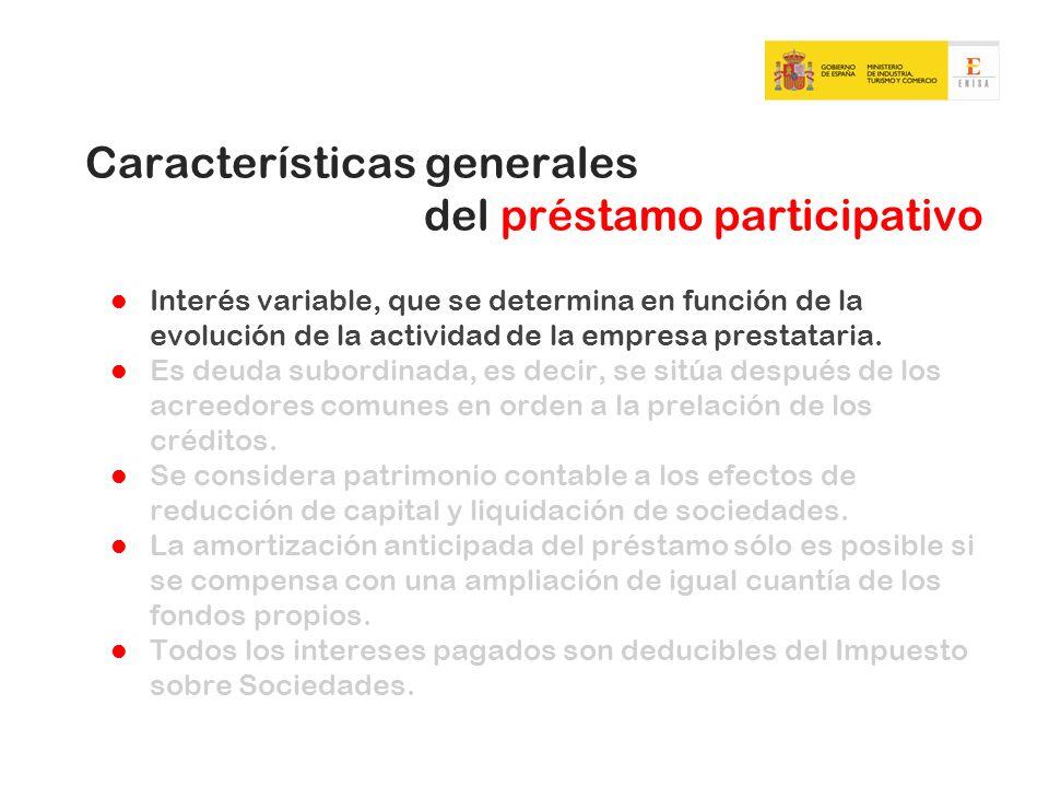 Características de los préstamos participativos concedidos por ENISA Vencimiento a largo plazo (entre 7 y 9 años).