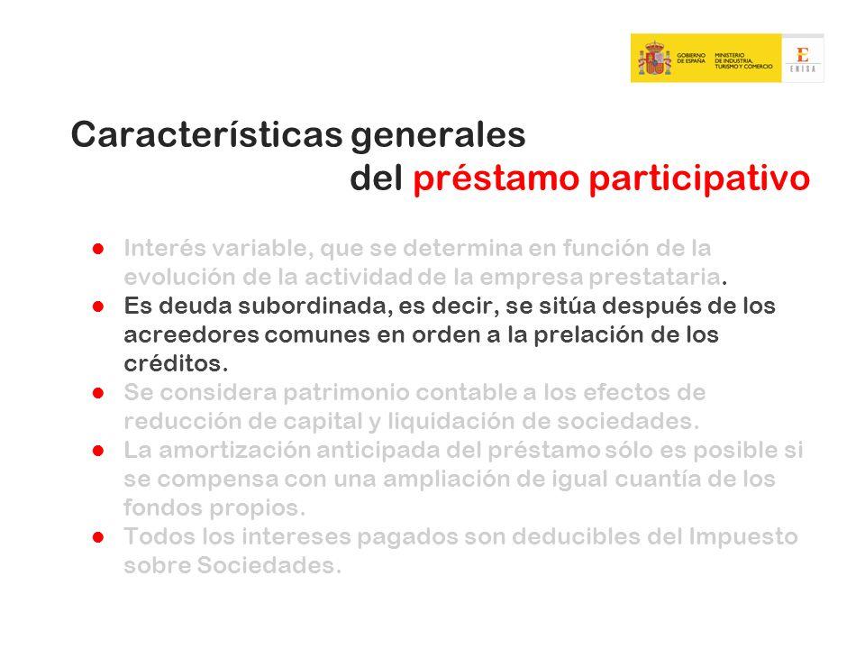Características generales del préstamo participativo Interés variable, que se determina en función de la evolución de la actividad de la empresa prestataria.