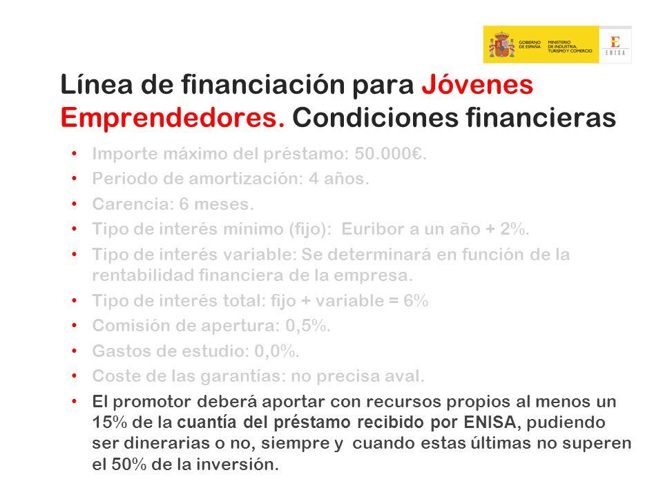Línea de financiación para Jóvenes Emprendedores. Condiciones financieras Importe máximo del préstamo: 50.000. Periodo de amortización: 4 años. Carenc